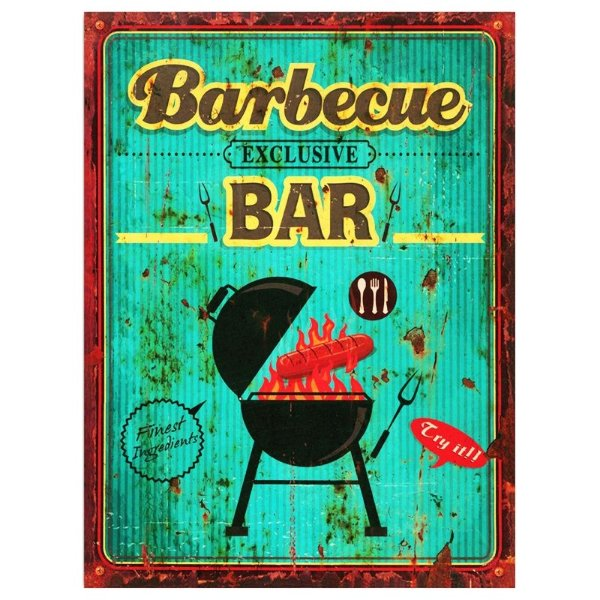 Placa decorativa - Barbecue exclusive bar