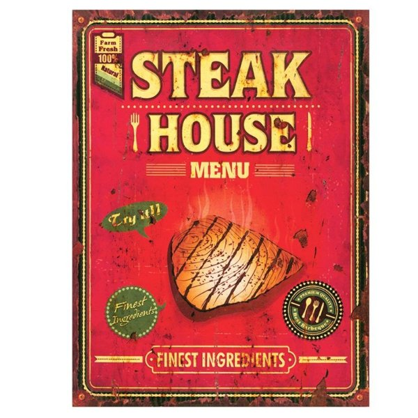 Placa decorativa - Steak house