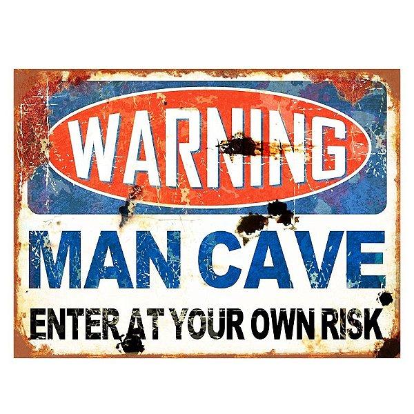 Placa decorativa - Warning man cave