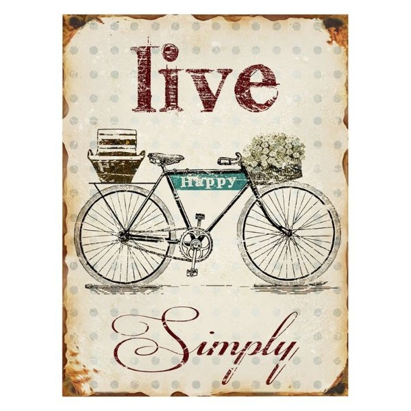 Placa decorativa - Live simply