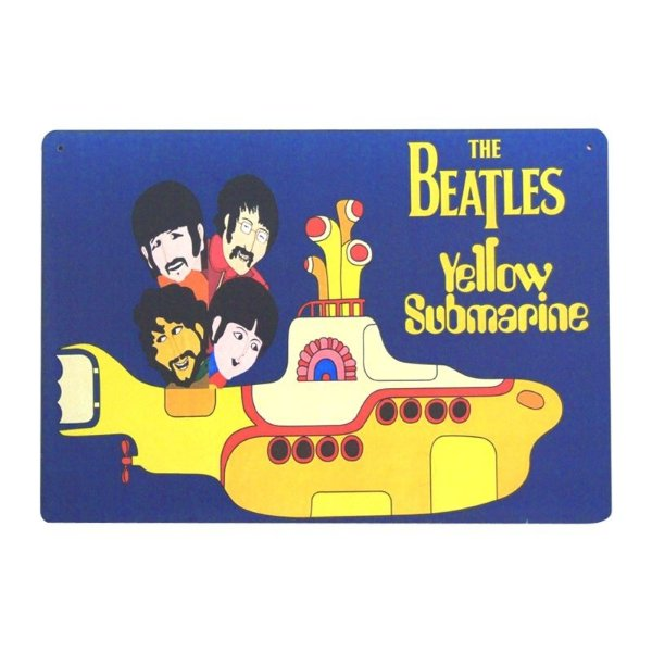 placa decorativa - The Beatles Yellow Submarine