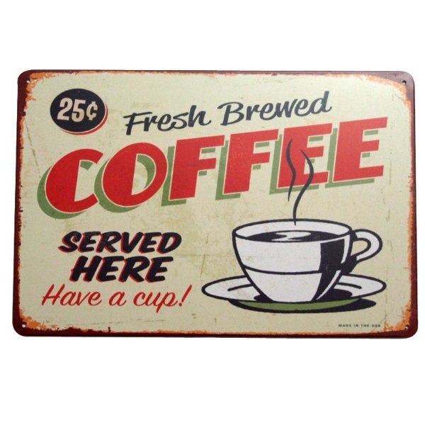 Placa decorativa - Fresh brewed coffee