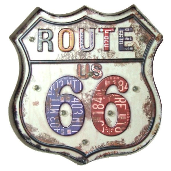 Placa decorativa com led - Route US 66