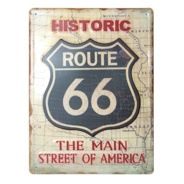 Placa decorativa - Route 66 The main street of america