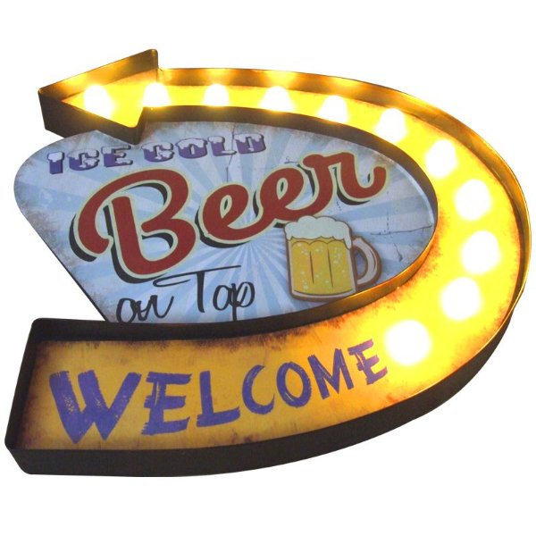 Placa decorativa com led - Ice cold beer