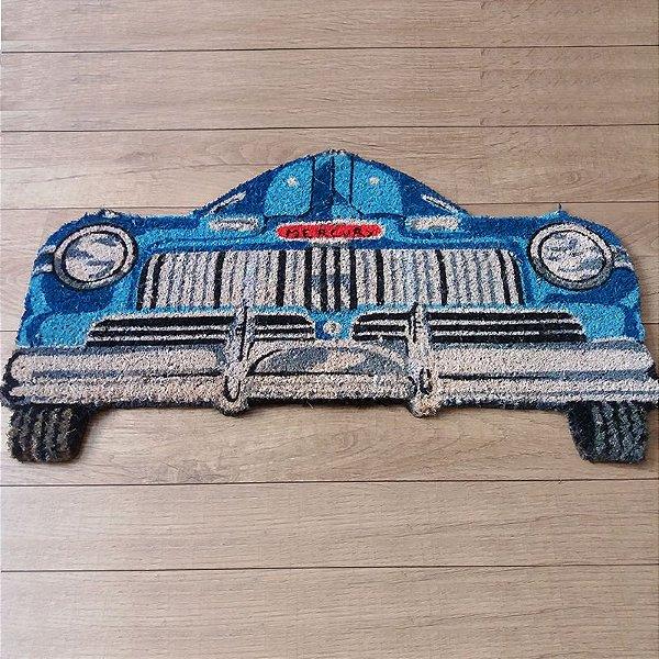 Capacho - Carro azul antigo
