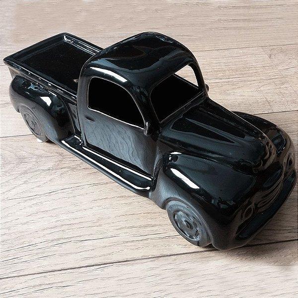 Miniatura caminhonete retrô cerâmica preta 2