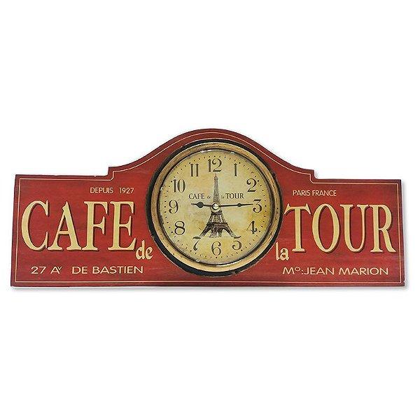 Relógio de parede Cafe de la tour vermelho