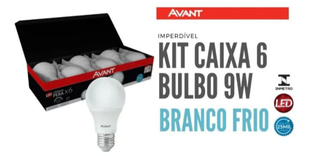 Kit 6 lâmpadas bulbo led 9w (sai a R$6,90 unidade)