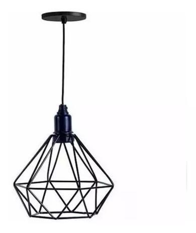 Pendente aramado preto para uma lâmpada