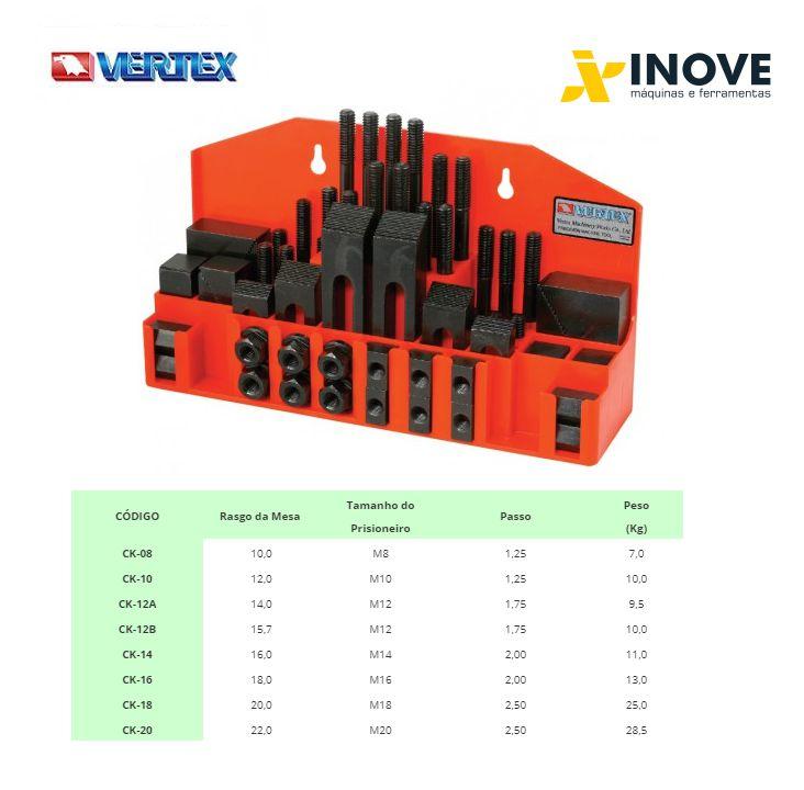 Jogo de presilhas dispositivo de fixação (Kit) c/ 58 pçs p/ mesa canal de 14mm p/fuso M12 com tratamento Mod:GR-12