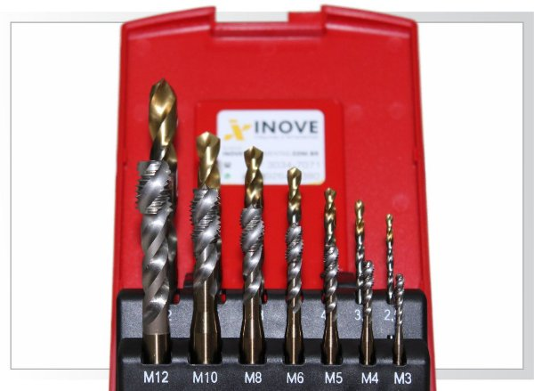 Kit Macho EX00 máquina M3, M4, M6, M8, M10 e M12 e respectivas Brocas A002 - Dormer L114302