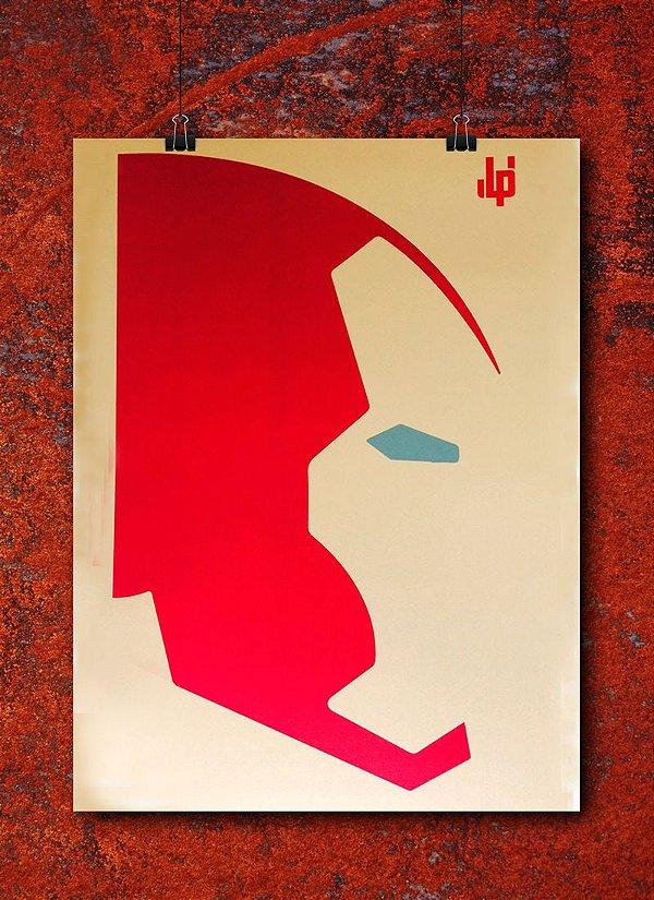 Pôster LP Homem de Ferro Minimalista - (Dourado / metalizado)