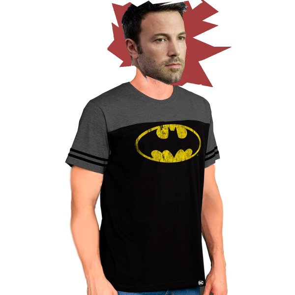Camiseta Masculina Bicolor Athletic  Batman Logo - PRODUTO OFICIAL DC COMICS