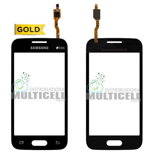 TELA TOUCH SCREEN SAMSUNG G318 GALAXY ACE 4 PRETO S/ CAMERA FRONTAL 1ªLINHA AAA GOLD