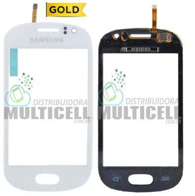 TELA TOUCH SCREEN SAMSUNG S6810/S6812 GALAXY FAME BRANCO 1ªLINHA AAA GOLD