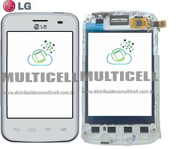 TELA TOUCH SCREEN LG E435 L3 II  BRANCO C/ ARO 100% ORIGINAL