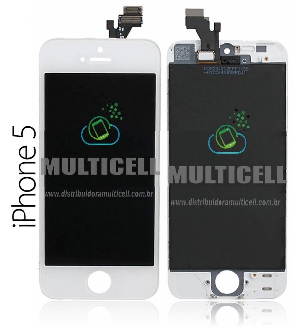 GABINETE FRONTAL DISPLAY LCD MODULO COMPLETO APPLE A1428 A1429 IPHONE 5 BRANCO 1ªLINHA QUALIDADE AAA