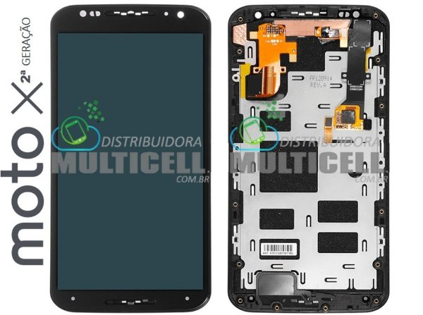 GABINETE FRONTAL LCD DISPLAY TOUCH SCREEN MODULO COMPLETO MOTOROLA XT1097 XT1098 MOTO X2 2ª GERAÇÃO PRETO ORIGINAL