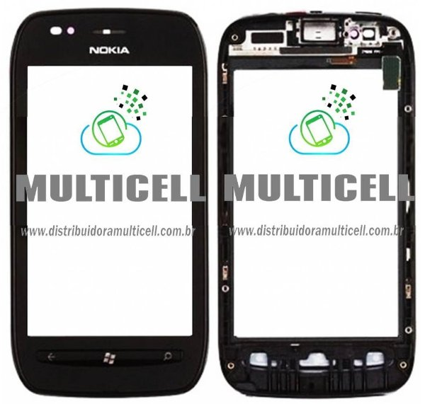 TELA TOUCH SCREEN NOKIA LUMIA 710 COM ARO PRETO ORIGINAL