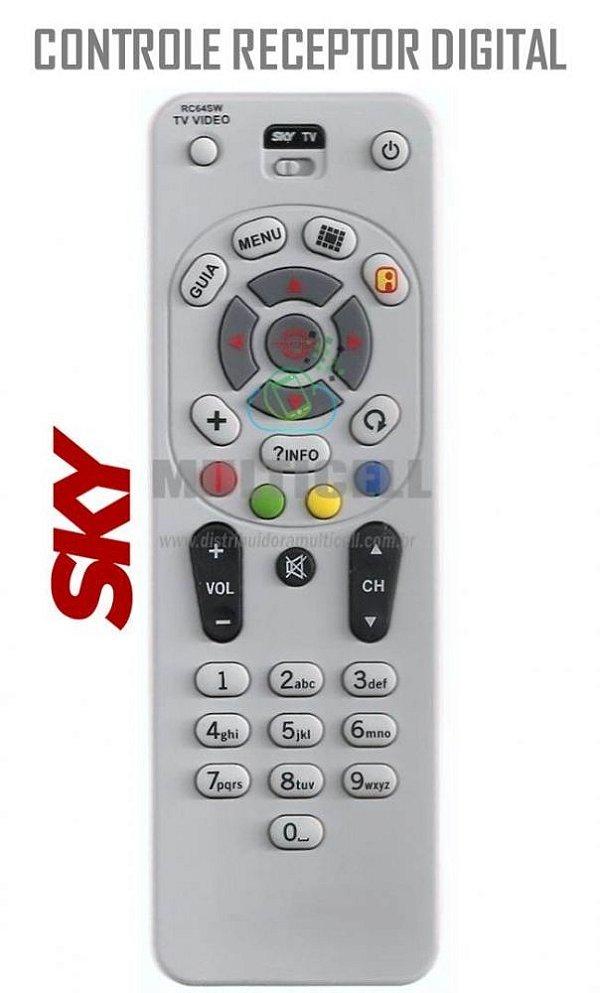 CONTROLE SKY LIVRE DIGITAL MODELO RC64SW SKY-7047 GL-7407 1ªLINHA