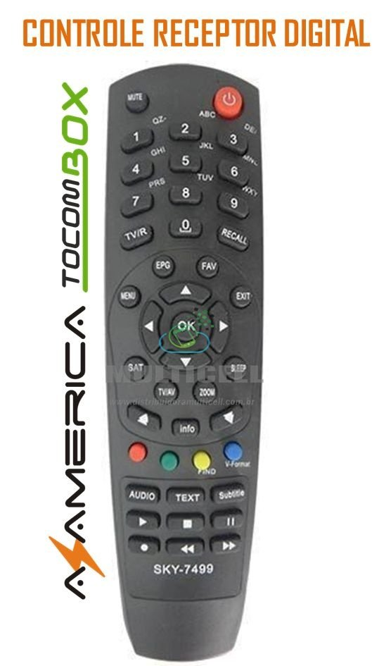 CONTROLE AZAMERICA S922 MINI /TOCOM BOX RECEPTOR DIGITAL/SOLO HD /HD+ SKY-7499 1ª LINHA