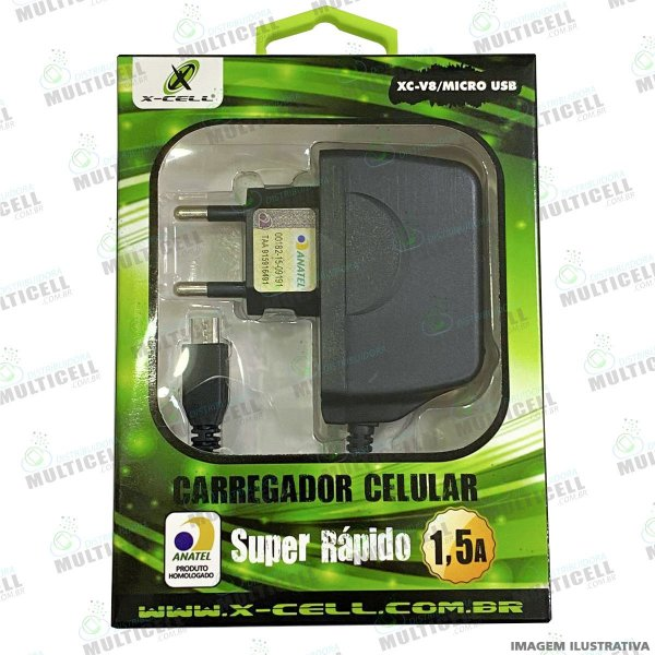 CARREGADOR X-CELL 1.5A SUPER RÁPIDO MICRO USB V8