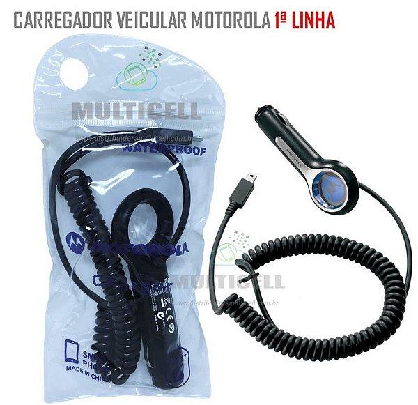 CARREGADOR VEICULAR MOTOROLA MICRO USB V8 5V 1ª LINHA
