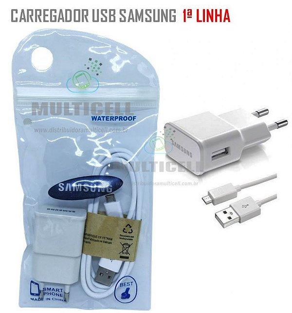 CARREGADOR USB CARGA E DADOS MODELO SAMSUNG MICRO V8 BRANCO 1ªLINHA