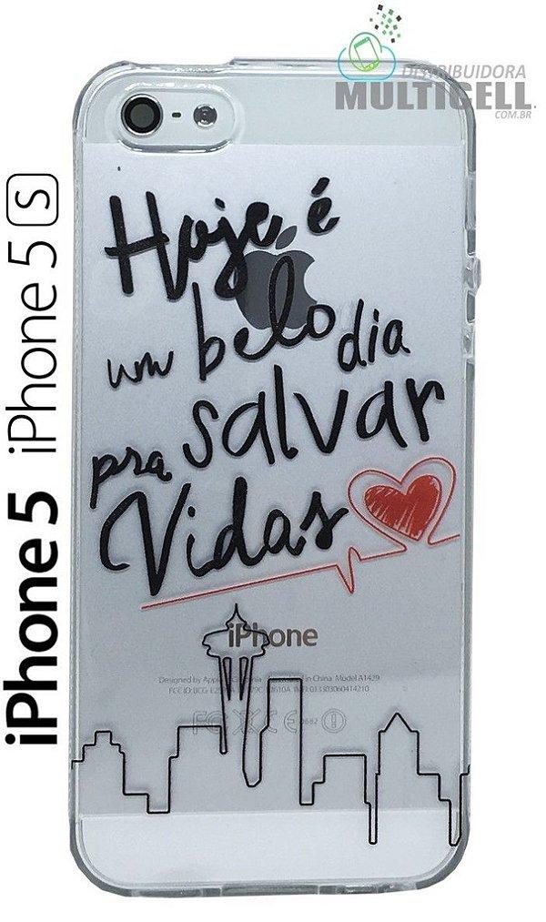 CAPA SILICONE PERSONALIZADA TRANSPARENTE IPHONE 5 5S TEMA SALVE VIDAS