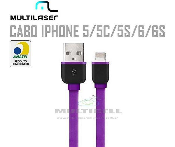 CABO FITA USB MULTILASER  IPHONE 5/5C/5S/6/6S ROXO HOMOLOGADO ANATEL