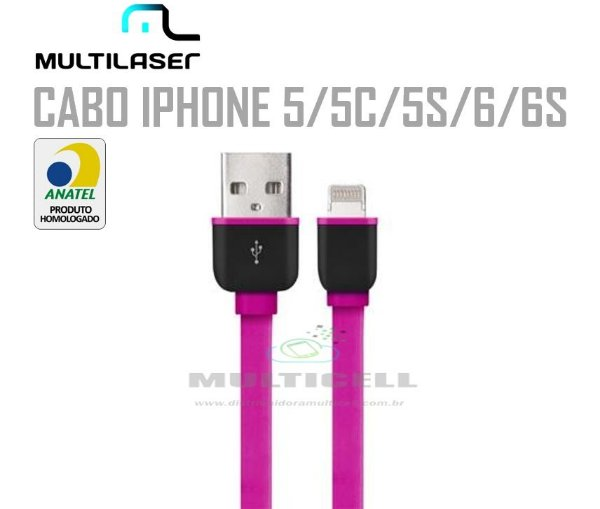 CABO FITA USB MULTILASER  IPHONE 5/5C/5S/6/6S ROSA HOMOLOGADO ANATEL