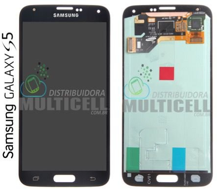 GABINETE FRONTAL LCD DISPLAY TOUCH SCREEN MODULO COMPLETO SAMSUNG G900 GALAXY S5 AZUL ORIGINAL