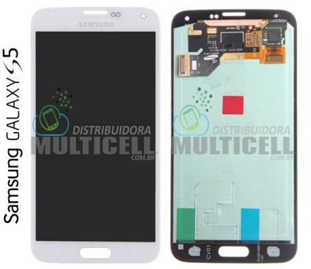 GABINETE FRONTAL LCD DISPLAY TOUCH SCREEN MODULO COMPLETO SAMSUNG G900 GALAXY S5 BRANCO ORIGINAL