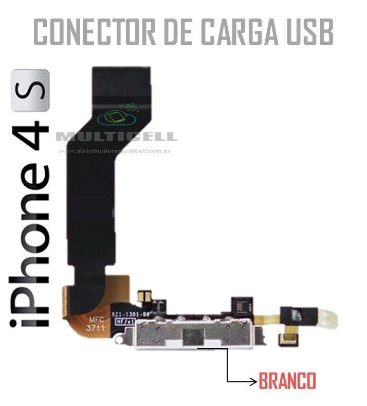 FLEX CONECTOR DE CARGA USB IPHONE 4S BRANCO 1ªLINHA