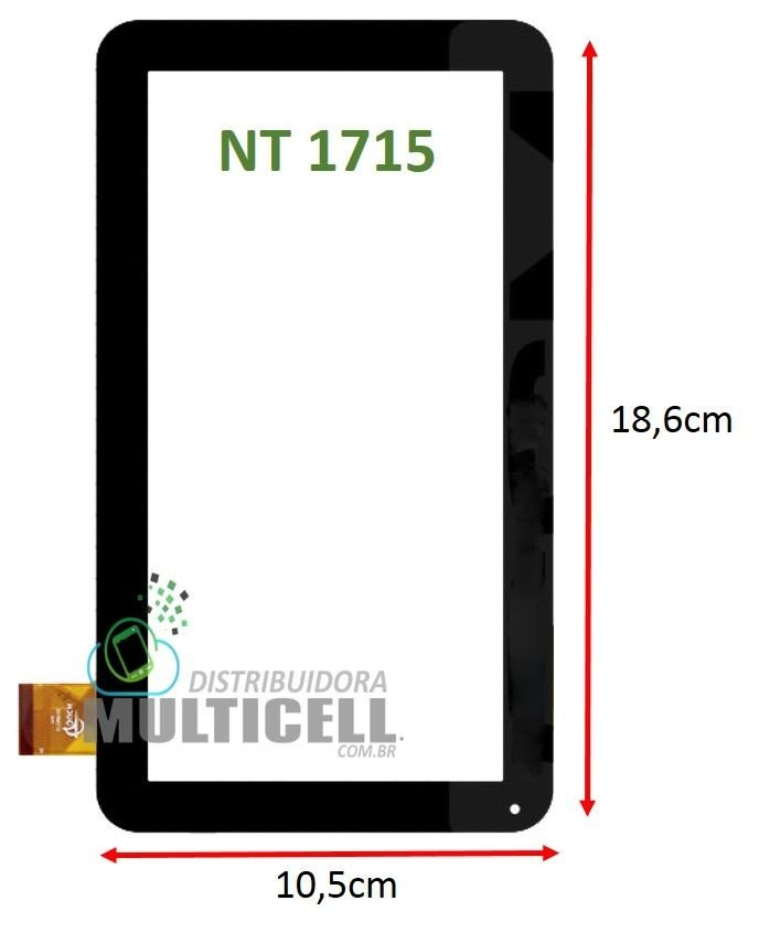 TELA TOUCH SCREEN NAVCITY HOW NT1715 NT 1715 7' PRETO ORIGINAL