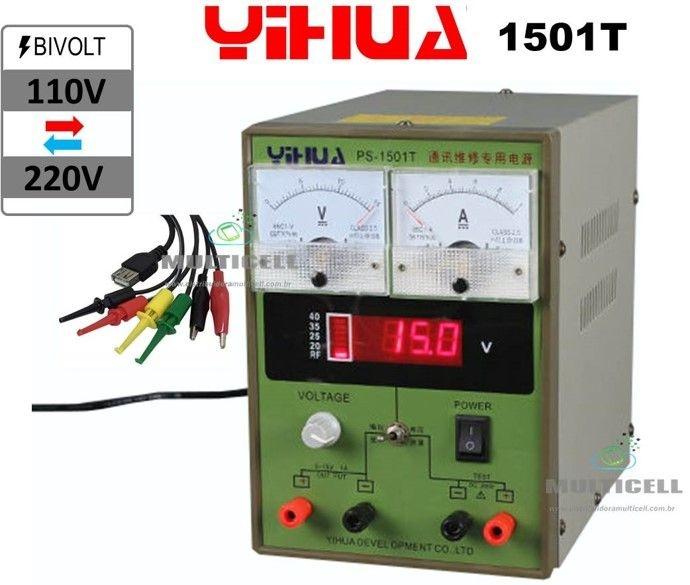 FONTE DE ALIMENTAÇÃO ANALÓGICA YIHUA 1501T 110V-220V BIVOLT