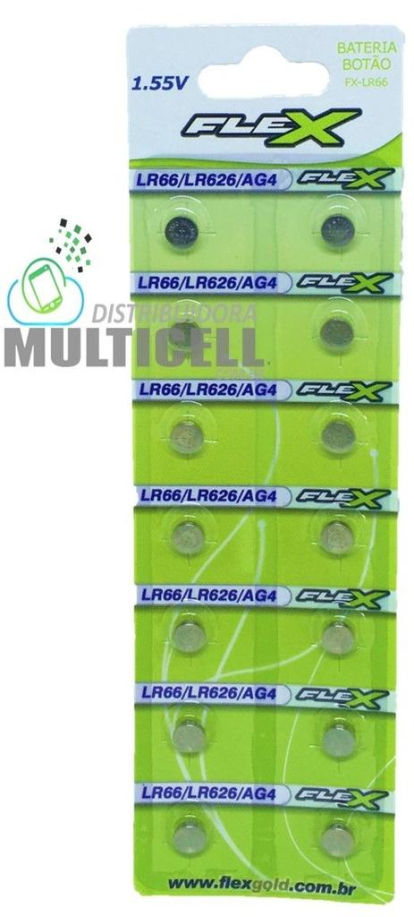 BATERIA BOTÃO LR66 LR626 AG4 377 FLEX GOLD CARTELA C/ 14 UNIDADES