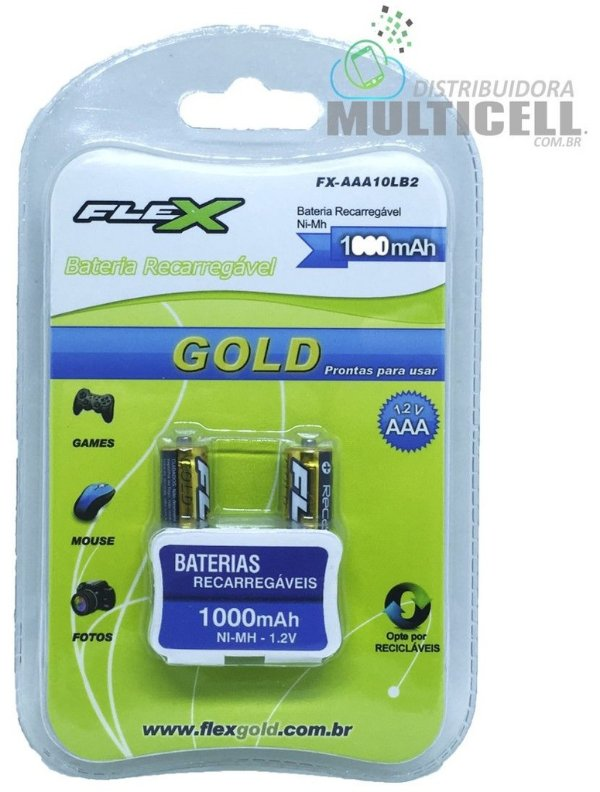 PILHA BATERIA RECARREGÁVEL AAA 1000mAh 1.2v FLEX GOLD CARTELA C/ 2 UNIDADES