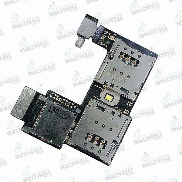 FLEX CONECTOR SLOT DE CHIP MATRIZ SIM CARD MOTOROLA XT1068 XT1069 XT1078 MOTO G2 1ªLINHA QUALIDADE AAA