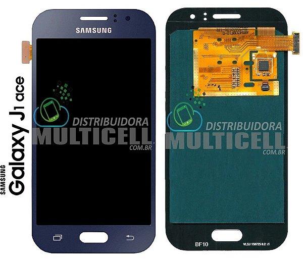 GABINETE FRONTAL MODULO COMPLETO TOUCH E LCD SAMSUNG J110 GALAXY J1 ACE AZUL ORIGINAL