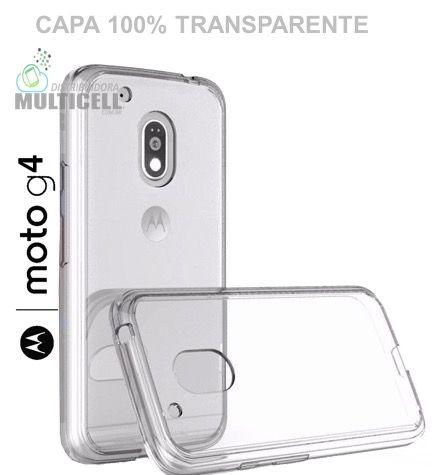 CAPA CASE DE SILICONE 100% TRANSPARENTE MOTOROLA XT1620 XT1622 XT1625 XT1626 MOTO G4