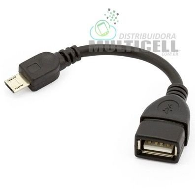 CABO OTG ADAPTADOR USB FEMEA PARA MICRO USB V8 PRETO 10cm