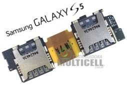 FLEX CONECTOR SLOT DE CHIP MATRIZ SIM CARD SAMSUNG I9600 G900 GALAXY S5 DUAL ORIGINAL