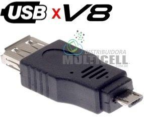 ADAPTADOR USB FEMIA PARA MICRO USB MACHO V8 PRETO