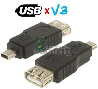 ADAPTADOR USB FÊMEA PARA MINI USB MACHO V3 PRETO