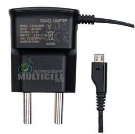 CARREGADOR MICRO USB V8 MODELO SAMSUNG GALAXY 5V PRETO 1ªLINHA