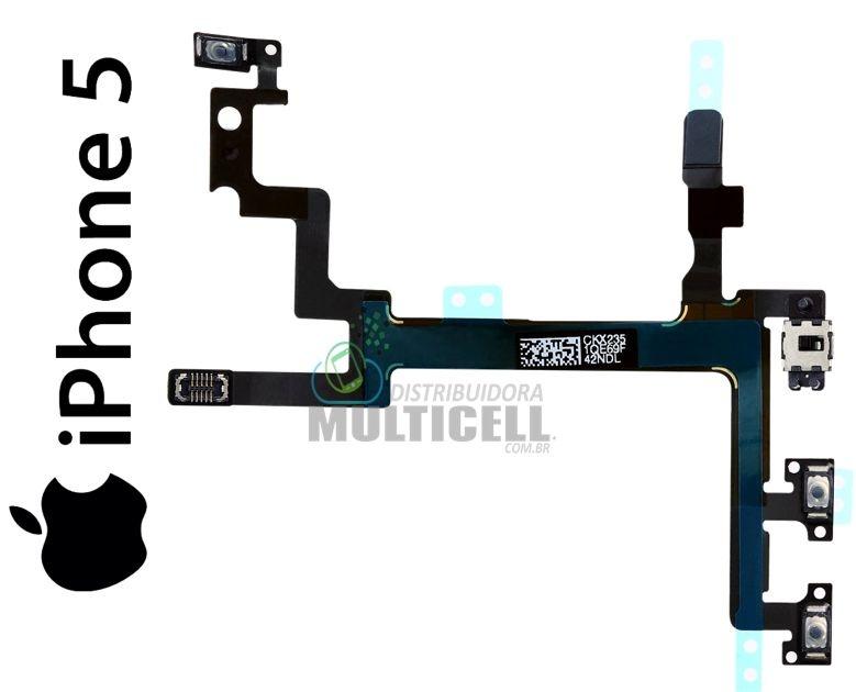 FLEX  POWER VOLUME E VIBRA APPLE A1428 A1429 IPHONE 5 PRETO 821-1416-07 ORIGINAL