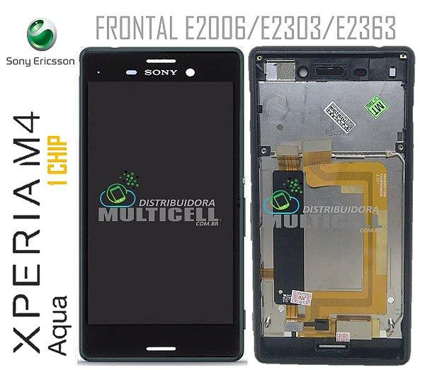 GABINETE FRONTAL SONY XPERIA E2006 E2303 E2363 M4 AQUA 1 CHIP PRETO COM ARO LATERAL