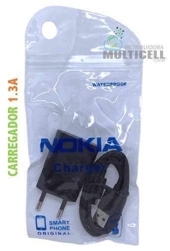 CARREGADOR MODELO NOKIA AC-50E MICRO USB V8 5V=1.3A 1ªLINHA
